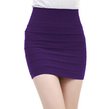 Women's Pencil Skirt Stretch Simple Mini High Waisted Basic Short Skirt