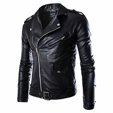 2015 New SAle Men Slim Fit PU Leather Biker Wear Overcoat Jacket Motorcycle Coat