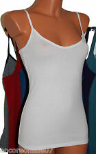 X Marks and Spencer M&S Cotton Strappy Long Length Vest Cami Top 7 Colours 8-18
