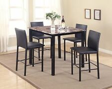 New Contemporary 5 Piece Counter Height Table Dining Set, w/ Faux Marble Top