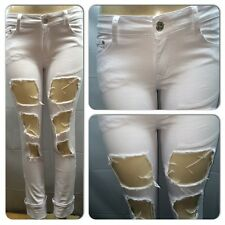 WOMAN'S WHITE FLOOD CUFF RIPPED DESTROYED JEANS  from size 0-17/18 style #  195