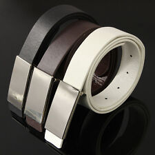 Fashion Men's Leather Metal Automatic Buckle Casual Dress Waist Band Strap Belts