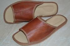 Mens Thick Sheep Leather Tan Slippers Shoes Sandal Handmade In Poland Slip On