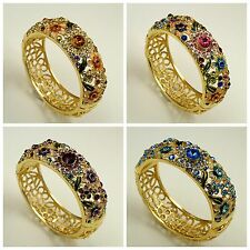 7 In New 18K Gold GP Austrian Crystal Flower Garden Bangle Cuff Bracelet 441
