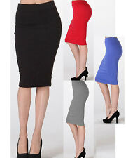 Women's Fitted Stretchy Bodycon Pencil Knee Midi High Waist Skirt S/M/L