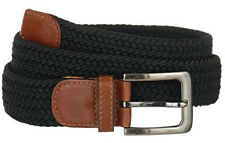 "New Men's Fabric Leather Elastic Woven Stretch Belt 1-3/8"" Wide"