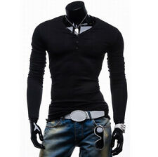 Men's Slim Fit Muscle Tops Long Sleeve T Shirts V Neck Basic Tee New Design S~XL