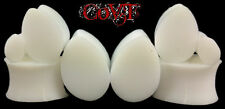 "Pair 8g-1/2"" White Teardrop Silicone Solid Plugs Double Flare Ear Gauges Tunnels"