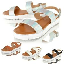 Womens ladies Summer Sandals Flat Beach Holiday Flatforms Strap Open Toe Shoes