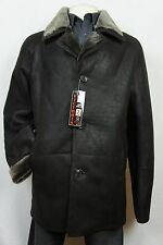 Brown 100% Sheepskin Shearling Leather Sheepskin Men Coat Jacket Trench S-8XL