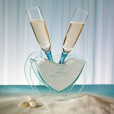 Heart Vase with Toasting Glasses Beach Theme Wedding + Option to Personalize