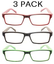 4 PACK READING GLASSES HIGH QUALITY WAYFARER SPRING HINGE READERS 19