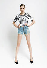 Summer Sexy Denim Shorts High Waisted Hole Stretch Women Ripped Jeans Hot Pants