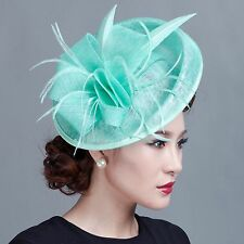 Lady party races fascinators handmade fascinating feather sinamay sagittate hat