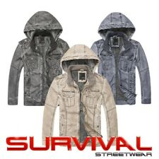 New Mens Hooded Faux Leather Outer Wear Lined Designer Jacket Top