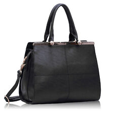 Ladies Black Leather Handbag New Tote Designer Style Celebrity Shoulder Bag