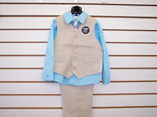 Toddler and Boys 4pc Khaki and Light Blue Suit sizes 3T, 4T and 5