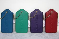Coach Leather Hangtag Multifunction Case Wallet Teal Jade Violet Red 52507 NWT