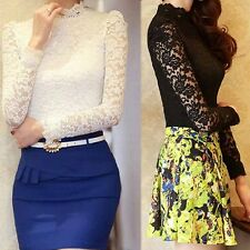 Fashion New Casual Womens Lace Crochet Long Sleeve Slim Fitted Shirt Blouse Tops