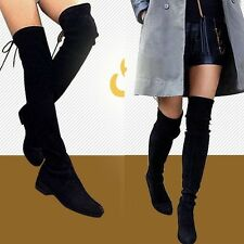 Size 5 6 7 8 9 Womens Sheepskin Leather Thigh High Over the Knee Flat Heel Boots