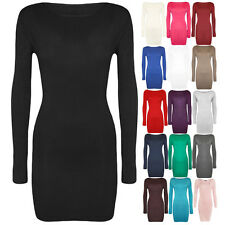 Sexy Women's Long Sleeve Stretch Bodycon Casual Basic Short Mini Dress Top