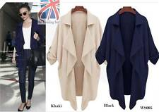 New Ladies Women Open Front Trench Cardigan Jacket Long Coat Top Overcoat WS005
