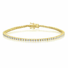 Sterling Silver 14k Gold Plated Tennis Bracelet Cubic Zirconia Round Cut CZ ~2mm