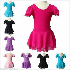 Girl Leotard Gymnastics Dance Dress Kid 3-13Y Unitards Ballet Tutu Chiffon Skirt