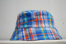 PLACE Kids Child Baby Boys Blue Check 100% Cotton travel Bucket Sun Hat Cap