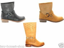 Womens Girls Spring Autumn  Winter Buckle Pull On Cuban Ankle Boots Shoes Sizes
