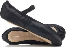 Boys / Mens BLACK Leather Ballet Shoes. Full Sole. Pre Sewn Elastics. All Sizes!
