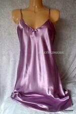 LILAC SILKY SATIN LOOK NIGHTWEAR NIGHTDRESS CHEMISE NIGHTIE KNEE LENGTH NEW