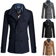 Mens Trench Coat Winter Jacket Wool Coat Overcoat Windbreaker Outerwear Long New