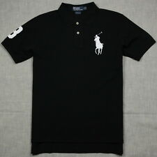 New Polo Shirt Ralph Lauren Custom Fit Big Pony Men's Black / White