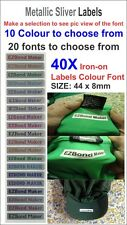 40x Metallic Silver label in Colour Font Iron On Name Labels Printed Size:44x8mm