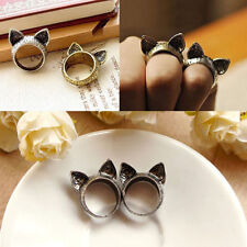 2PCS Cute Fashion Korean Retro Vintage Cute Silver Bronze Cat Ears Ring Jewelry
