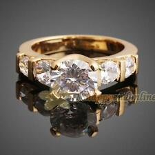 Elegant Women Jewelry 18K Gold Plated Crystal Chic Engagement Wedding Party Ring