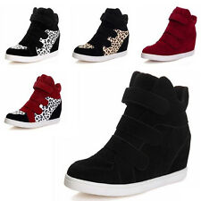 Black Women Velcro Strap Hidden Heel High Top Sneakers Ankle Wedge Shoes Boots
