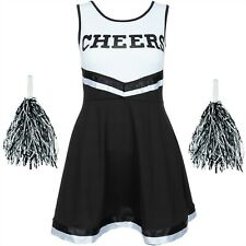 BLACK CHEERLEADER FANCY DRESS OUTFIT HIGH SCHOOL UNIFORM COSTUME + POM POMS