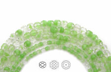 Czech Fire Polished Round Faceted Glass Beads in Crystal Light Green Givre