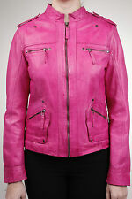 Ladies Womens Classic Pink Fashion Soft Nappa Leather Fitted Rock Jacket