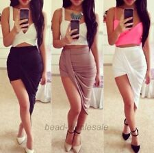 Lady's  Asymmetrical High Low Wrapped Cut out Elastic Waist Draped Skirt