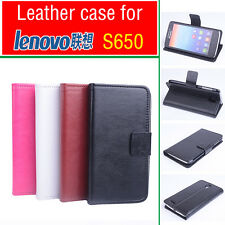 High Quality Leather Flip Case Stand Case Cover for Lenovo S650 Smartphone