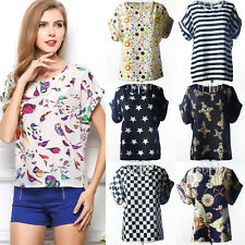 WOMEN SUMMER LOOSE CASUAL SHORT SLEEVE CHIFFON T-SHIRT TOPS BLOUSE SHIRT STRIPE