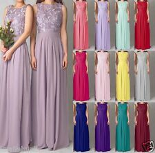 2015 New Lace Long Chiffon Formal Evening  Party Prom Bridesmaid Dress Size 6-18