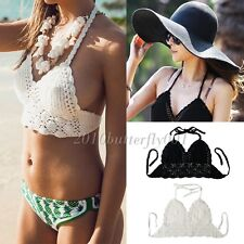 Women Crochet Lace Knit Bra Boho Beach Bikini Halter Cami Tank Crop Top