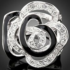 White Gold Plated Rose Flower Ring With Enamel Austra Crystals Fashion Rings