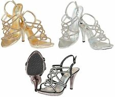 New Womens Evening Prom Party Wedding Sandals High Heel Diamante Shoes Size