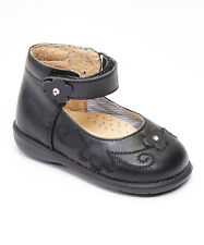 Baby Girl Black Leather High Top shoes with Loop & Stitch Design: Size 3 to 8