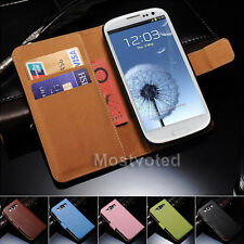 Genuine Leather Flip Wallet Case Cover For Samsung Galaxy SIII S3 i9300 i9305